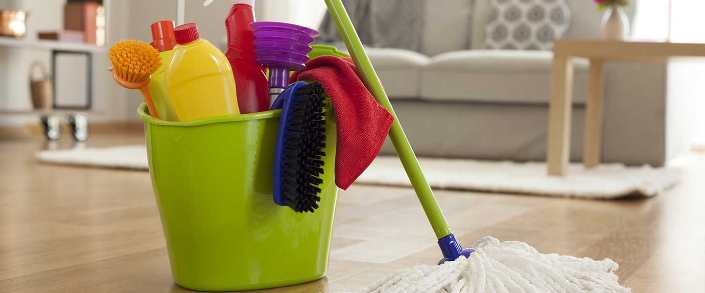 A bucket of tools and cleaners used for house cleaning